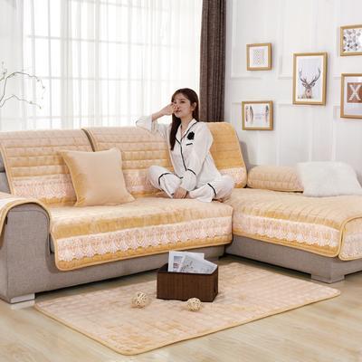 20189新款-沙发垫法莱绒(花边款) 70*70cm 法莱绒米稠黄-花边款