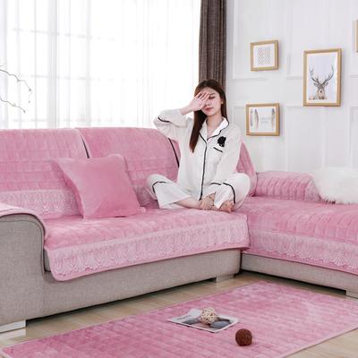 20189新款-沙发垫法莱绒(花边款) 70*70cm 法莱绒肉粉-花边款