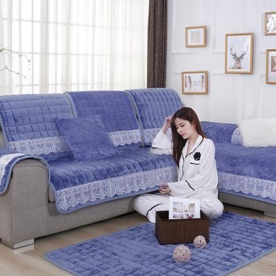 20189新款-沙发垫法莱绒(花边款) 70*70cm 法莱绒雾蓝-花边款