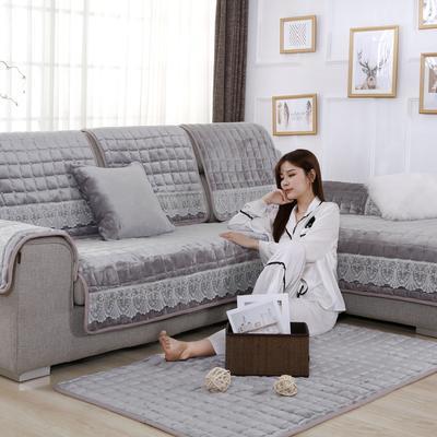 20189新款-沙发垫法莱绒(花边款) 70*70cm 法莱绒月灰-花边款