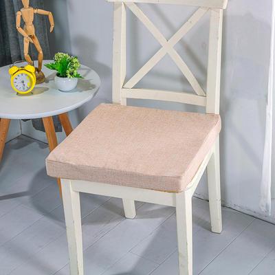 2020新品北欧现代办公室椅子学生凳子棉麻椅垫海绵坐垫 40*40cm5厘米厚 棉麻素色米黄