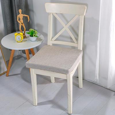 2020新品北欧现代办公室椅子学生凳子棉麻椅垫海绵坐垫 40*40cm5厘米厚 棉麻素色浅灰