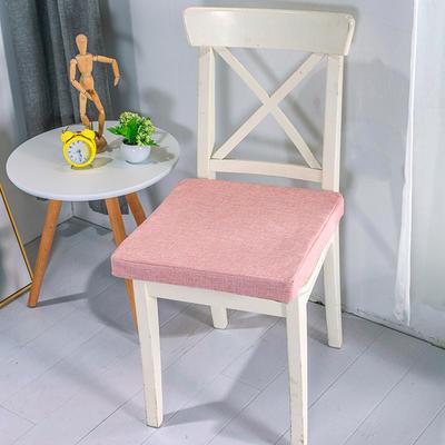 2020新品北欧现代办公室椅子学生凳子棉麻椅垫海绵坐垫 40*40cm5厘米厚 棉麻素色肉粉