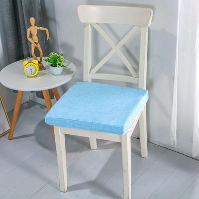 2020新品北欧现代办公室椅子学生凳子棉麻椅垫海绵坐垫 40*40cm5厘米厚 棉麻素色雪域蓝