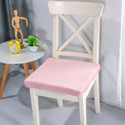 2020新品北欧现代办公室椅子学生凳子棉麻椅垫海绵坐垫 40*40cm5厘米厚 雪尼尔肉粉