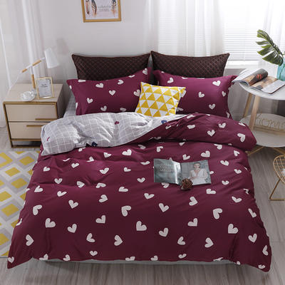 2020新款60支长绒棉印花四件套贡缎活性全棉套件 床单款1.5m(5英尺)床 爱意满满-红