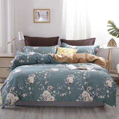 2020新款60支长绒棉印花四件套贡缎活性全棉套件 床单款1.5m(5英尺)床 花香-绿