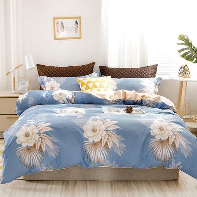 2020新款60支长绒棉印花四件套贡缎活性全棉套件 床单款1.5m(5英尺)床 花颜绽放-蓝