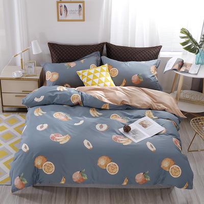 2020新款60支长绒棉印花四件套贡缎活性全棉套件 床单款1.5m(5英尺)床 水果乐园