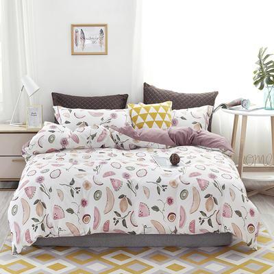 2020新款60支长绒棉印花四件套贡缎活性全棉套件 床单款1.5m(5英尺)床 水果派对