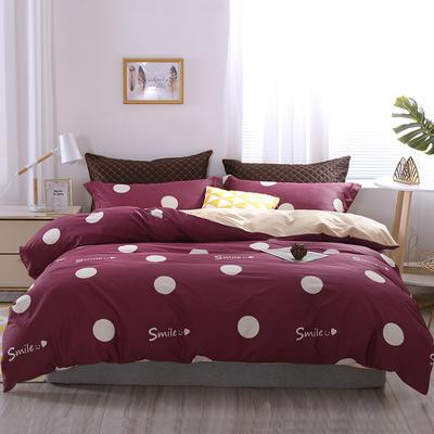 2020新款60支长绒棉印花四件套贡缎活性全棉套件 床单款1.5m(5英尺)床 微笑天使-酒红