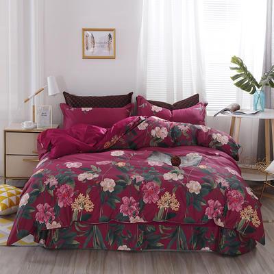 2020新款60支长绒棉印花四件套贡缎活性全棉套件 床单款1.5m(5英尺)床 筱娜-红