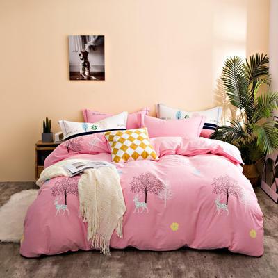 2020秋冬新品加厚全棉生态磨毛四件套 床单款四件套1.5m(5英尺)床 漫步深林-粉