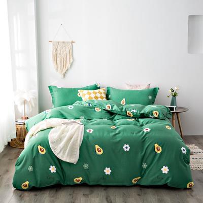 2020秋冬新品加厚全棉生态磨毛四件套 床单款四件套1.5m(5英尺)床 牛油果