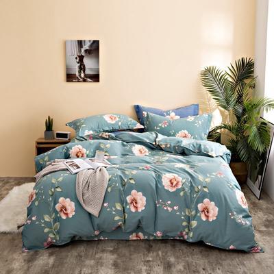 2020秋冬新品加厚全棉生态磨毛四件套 床单款四件套1.5m(5英尺)床 情意绵绵