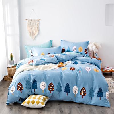 2020秋冬新品加厚全棉生态磨毛四件套 床单款四件套1.5m(5英尺)床 森林王国