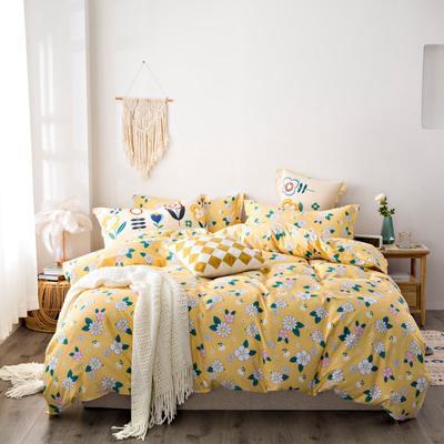 2020秋冬新品加厚全棉生态磨毛四件套 床单款四件套1.5m(5英尺)床 穗花忆