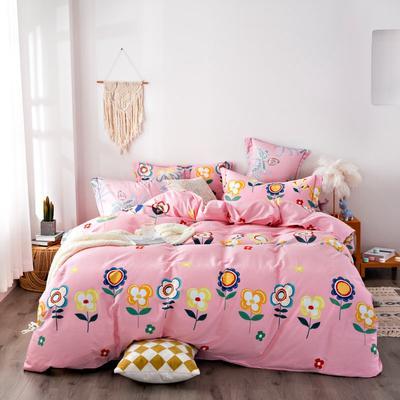 2020秋冬新品加厚全棉生态磨毛四件套 床单款四件套1.5m(5英尺)床 太阳花-粉