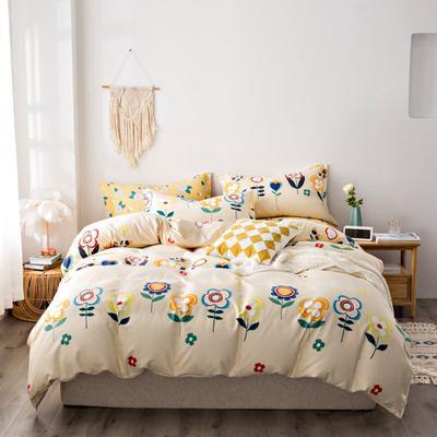 2020秋冬新品加厚全棉生态磨毛四件套 床单款四件套1.5m(5英尺)床 太阳花-黄