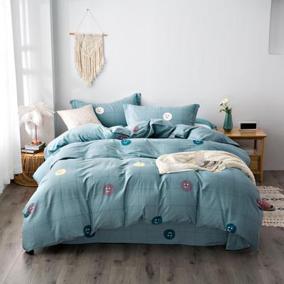 2020秋冬新品加厚全棉生态磨毛四件套 床单款四件套1.5m(5英尺)床 微笑达人