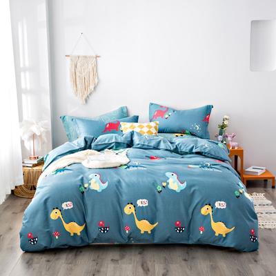 2020秋冬新品加厚全棉生态磨毛四件套 床单款三件套1.2m(4英尺)床 小恐龙