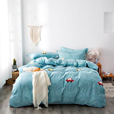 2020秋冬新品加厚全棉生态磨毛四件套 床单款三件套1.2m(4英尺)床 小汽车
