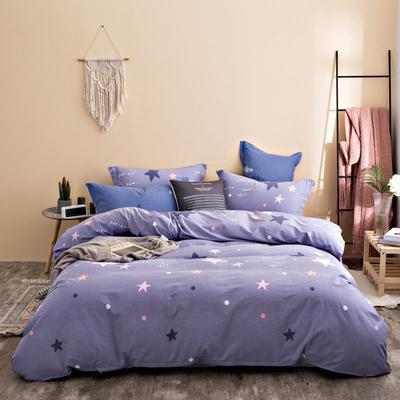 2020秋冬新品加厚全棉生态磨毛四件套 床单款四件套1.5m(5英尺)床 幸运星
