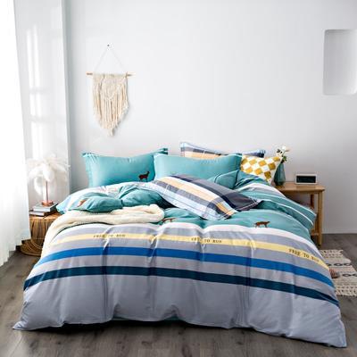 2020秋冬新品加厚全棉生态磨毛四件套 床单款四件套1.5m(5英尺)床 休闲一刻