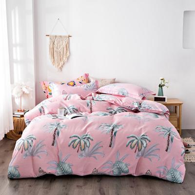 2020秋冬新品加厚全棉生态磨毛四件套 床单款四件套1.5m(5英尺)床 椰林
