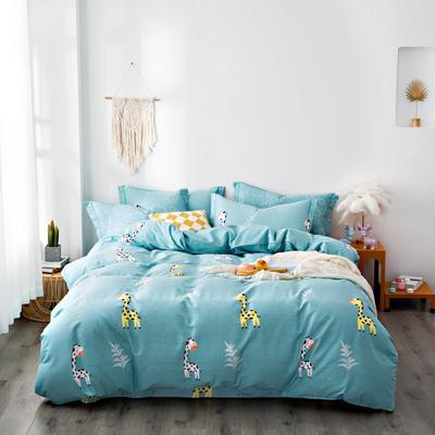 2020秋冬新品加厚全棉生态磨毛四件套 床单款四件套1.5m(5英尺)床 长颈鹿