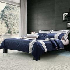 梦幻之城家纺欧式简约现代男士商务居家四件套六件套 1.5米床适用 托马斯蓝