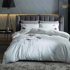 梦幻之城亚麻六件套绣花中国风 1.5m(5英尺)床 荷塘月色