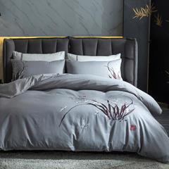 梦幻之城亚麻六件套绣花中国风 1.5m(5英尺)床 香谷幽兰