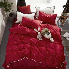 60长绒棉绣花小清新款 1.8m(6英尺)床 春风十里-红