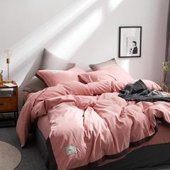 拼角水洗棉四件套 2.0m(6.6英尺)床 豆沙