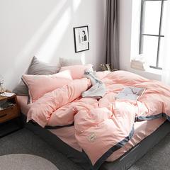 拼角水洗棉四件套 1.2m(4英尺)床 粉玉