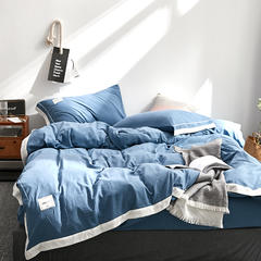 拼角水洗棉四件套 1.2m(4英尺)床 蓝灰