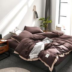 拼角水洗棉四件套 1.5m(5英尺)床 深咖