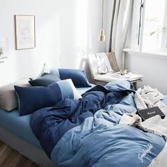 拼色水洗棉四件套 1.2m(4英尺)床 冰川蓝