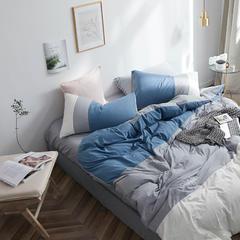 拼色水洗棉四件套 2.0m(6.6英尺)床 云水蓝
