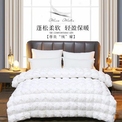 2019新款日久鹅绒被加厚保暖羽绒被冬被芯可订做各种尺寸 200X230cm(填充1900克) 白色