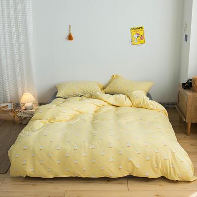 2020新款針織棉四件套 1.2m床單款三件套 淘氣小鴨黃