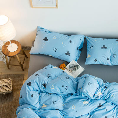 2020新款針織棉四件套 1.5m床單款四件套 夜空藍