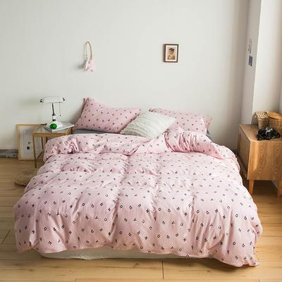 2020新款針織棉四件套 1.5m床單款四件套 字母空間粉