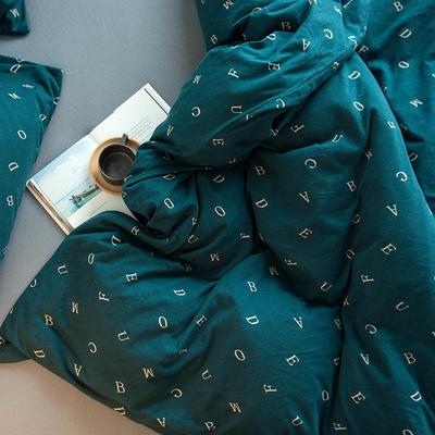 2020新款針織棉四件套 1.5m床單款四件套 字母空間綠