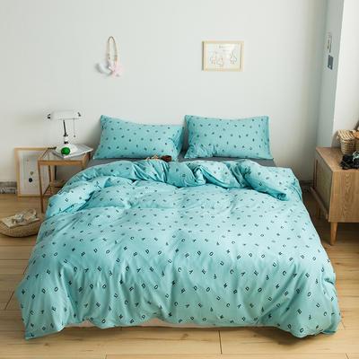 2020新款針織棉四件套 1.5m床單款四件套 字母戀歌藍