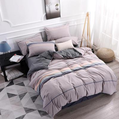 2019新款全棉色织水洗棉四件套 1.8m床单款四件套 缘分天空-灰色