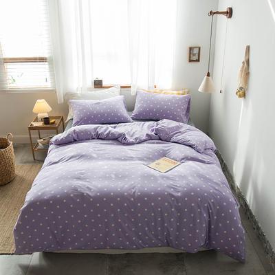 2020新款針織棉四件套 1.5m床單款四件套 五角星紫