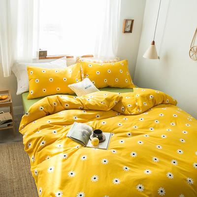 2020新款針織棉四件套 1.5m床單款四件套 向日葵黃