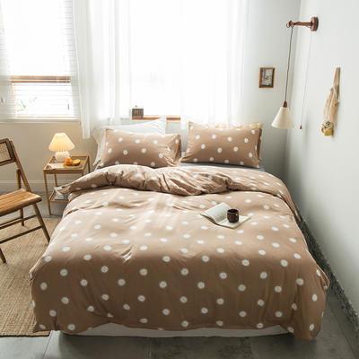 2020新款針織棉四件套 1.5m床單款四件套 小太陽咖